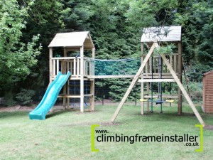 P6080064 300x225 NI 5ft Double Tower Climbing Frame with Wooden Swing Beam