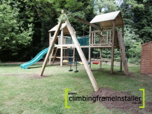 P6080071 300x225 NI 5ft Double Tower Climbing Frame with Wooden Swing Beam
