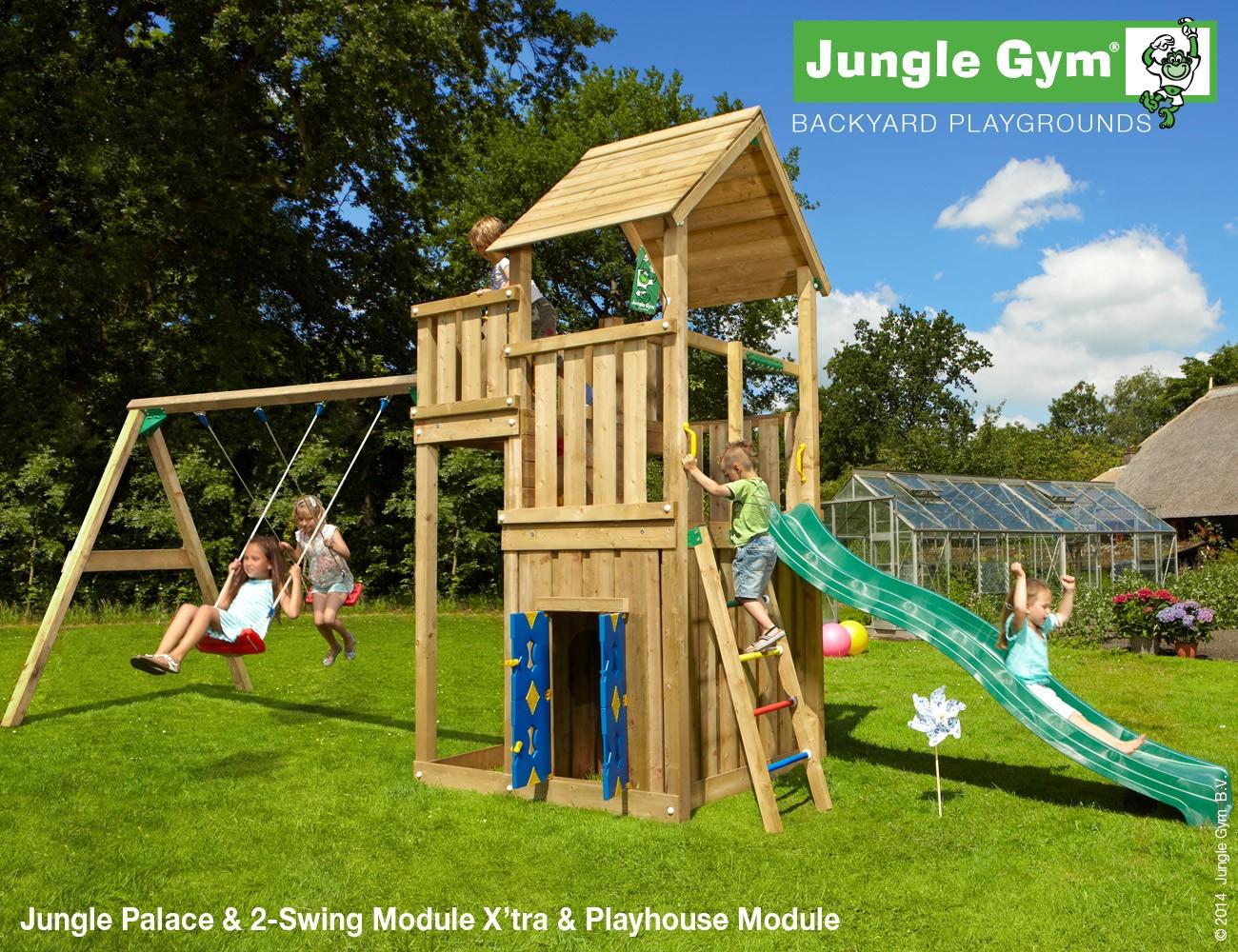 the jungle gym palace playhouse 2 swing climbing frame climbing