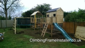 Play Crazy Double Tower Raised Playhouse Climbing Frame Install
